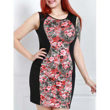 Vintage Scoop Collar Sleeveless Floral Print Spliced Women's Dress