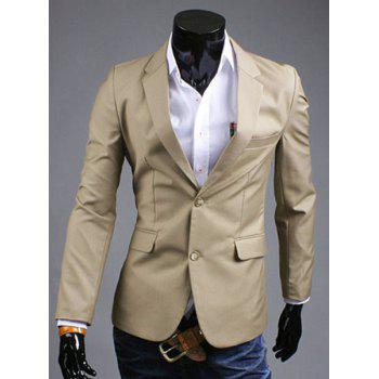 Simple Turn-Down Collar Solid Color Slit Design Long Sleeve Men's Blazer