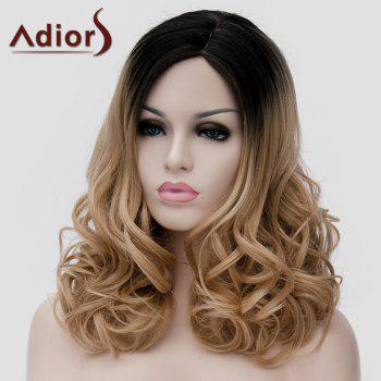 Nobby Long Black Ombre Brown Side Bang Shaggy Wavy Synthetic Universal Wig For Women - BLACK/BROWN