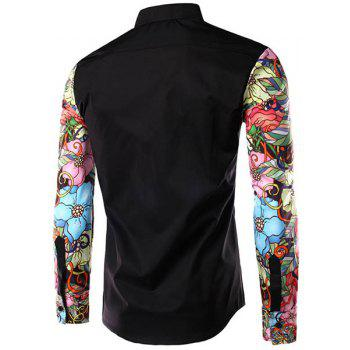 Stylish Turn-Down Collar Floral Print Spliced Long Sleeve Men's Shirt - BLACK M