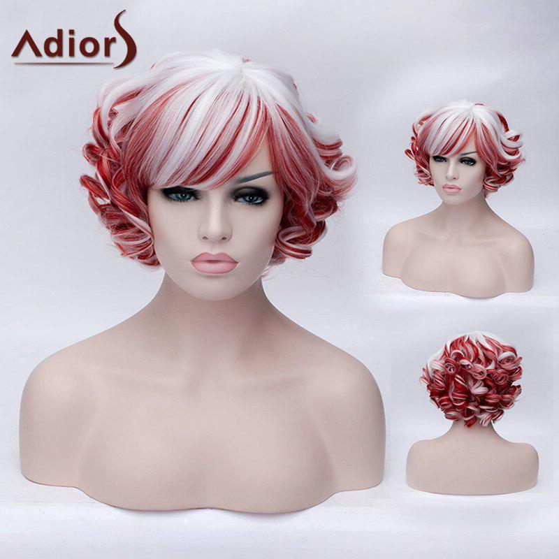 Fashion Fluffy Curly Red and White Highlight Synthetic Short Side Bang Wig For Women -  RED/WHITE