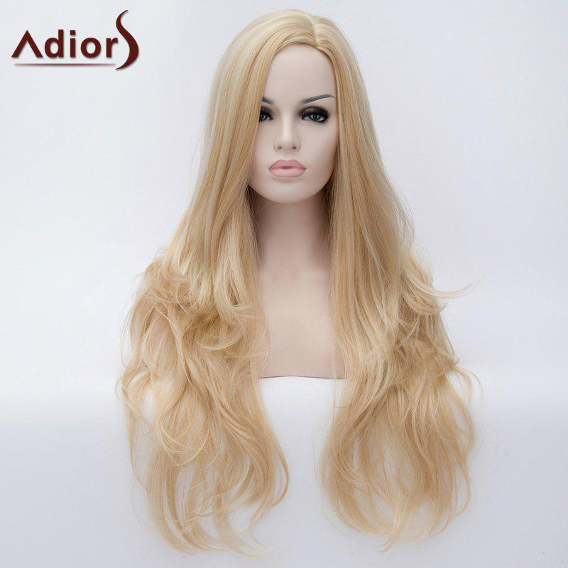 Charming Fluffy Wavy Golden Highlight Synthetic Long Side Bang Wig For Women - COLORMIX