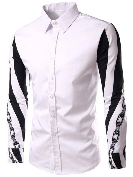 Fashion Turn Down Collar Long Sleeves Chain Printed Shirt For Men