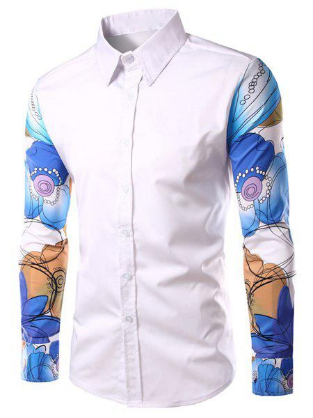 Fashion Turn Down Collar Printed Sleeves Shirt For Men