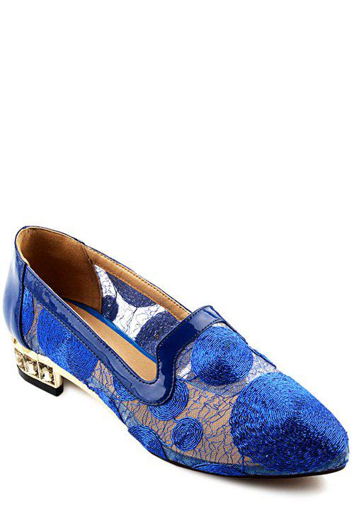 Stylish Lace and Rhinestone Design Flat Shoes For Women - BLUE 38