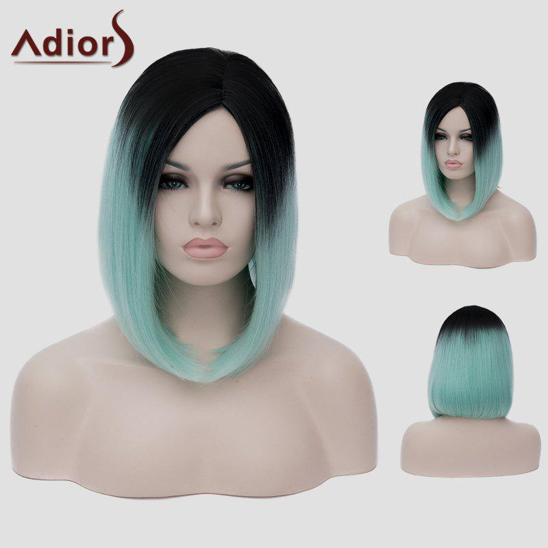 Lolita Short Straight Tail Adduction Trendy Black Ombre Green Synthetic Women's Cosplay Wig - COLORMIX