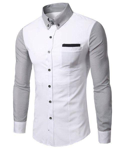 Fashion Turn Down Collar Stripe Sleeves Shirt For Men