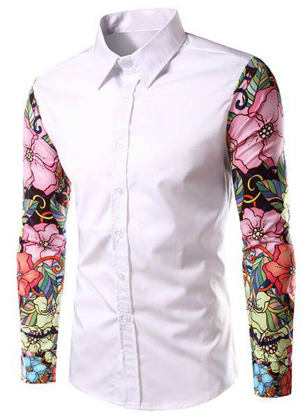 Stylish Turn-Down Collar Floral Print Spliced Long Sleeve Men's Shirt - WHITE 2XL
