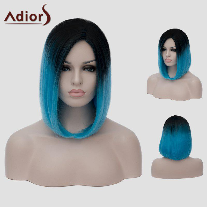 Vogue Harajuku Black Ombre Blue Short Straight Tail Adduction Synthetic Cosplay Wig For Women