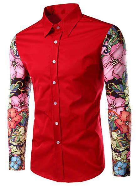 Stylish Turn-Down Collar Floral Print Spliced Long Sleeve Men's Shirt - M RED