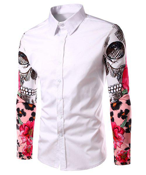 Fashion Turn Down Collar Printing Sleeves Shirt For Men - WHITE 2XL