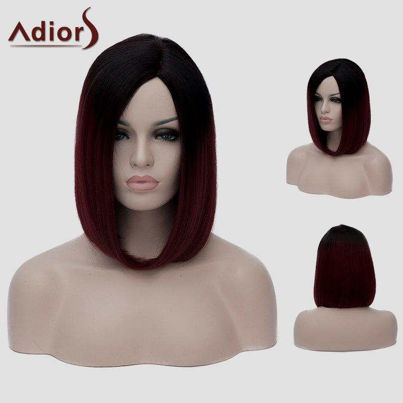 Vogue Harajuku Black Ombre Blue Short Straight Tail Adduction Women's Synthetic Cosplay Wig