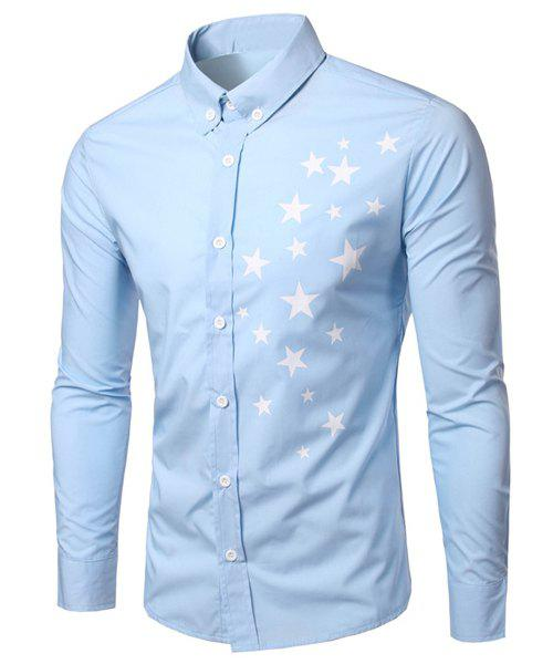 Fashion Turn Down Collar Long Sleeves Star Printing Shirt For Men - LIGHT BLUE L