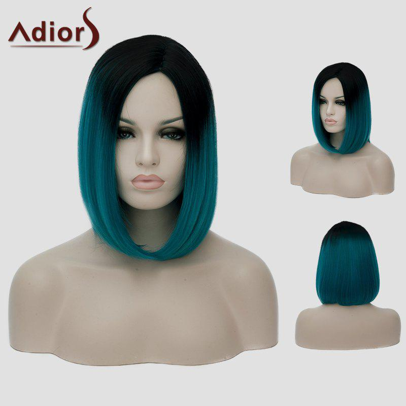 Lolita Black Ombre Blackish Green Capless Stylish Short Straight Synthetic Cosplay Wig For Women - BLACK/GREEN