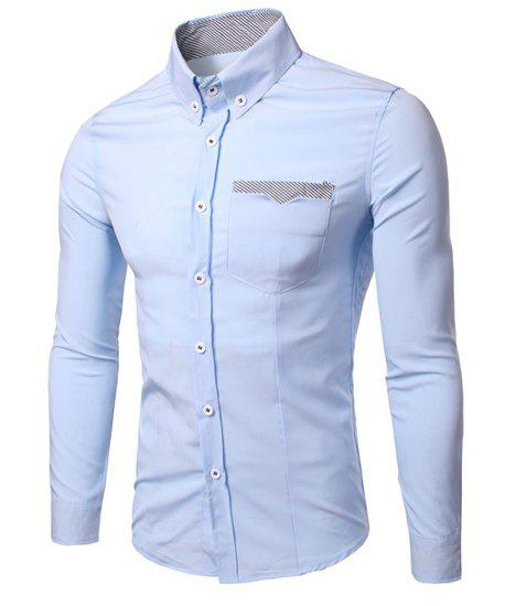 Fashion Turn Down Collar Long Sleeves Stripe Shirt For Men - LIGHT BLUE 2XL