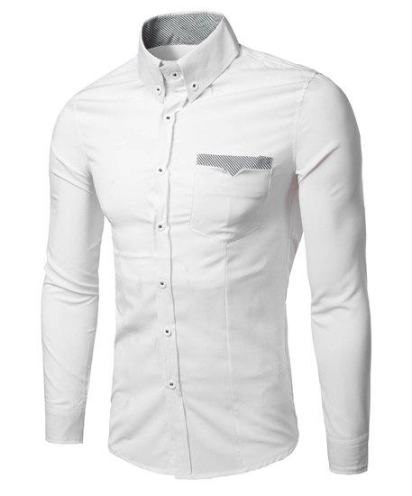 Fashion Turn Down Collar Long Sleeves Stripe Shirt For Men - WHITE M