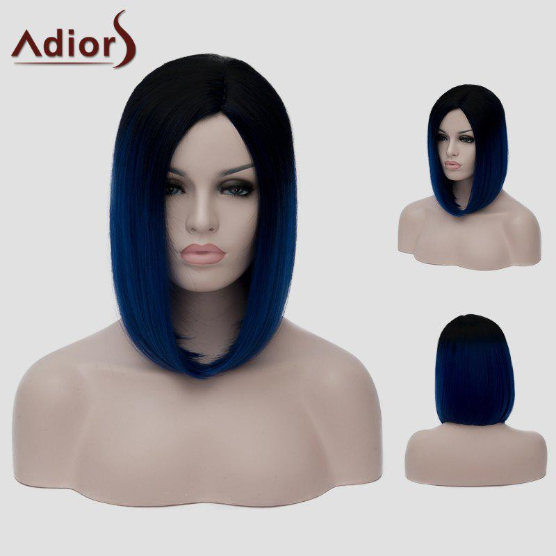 Trendy Lolita Short Black Ombre Dark Blue Capless Straight Synthetic Cosplay Wig For Women trendy medium black ombre dark green straight synthetic lace front wig for women