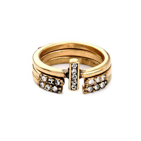 A Suit of Retro Rhinestone Decorated Cuff Ring For Women - GOLDEN ONE-SIZE