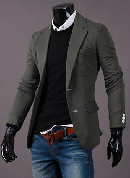 Casual Turn-Down Collar Solid Color Button Embellished Cuffs Long Sleeve Men's Blazer - GREEN XL