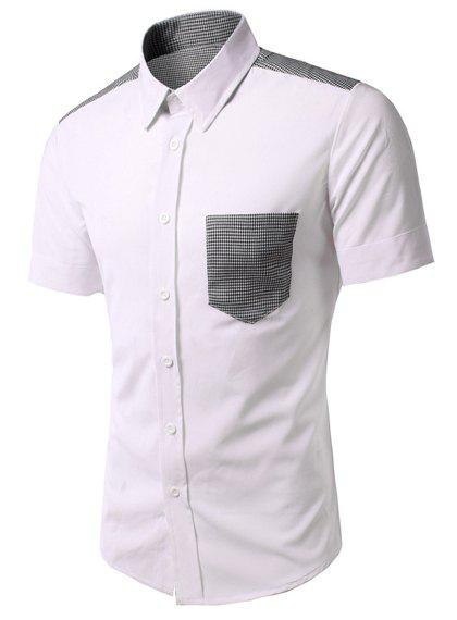 Fashion Houndstooth Pocket Turn Down Collar Short Sleeves Shirt For Men - WHITE L