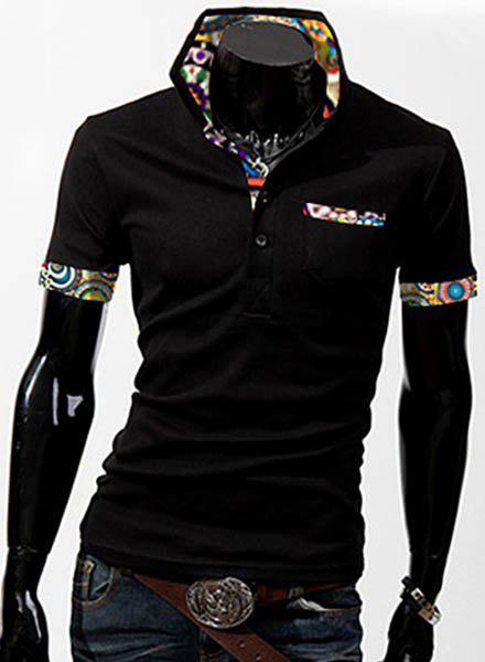 Turn-Down Collar Patch Pocket Floral Print Splicing Short Sleeve Men's Polo Shirt - BLACK M