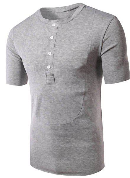 Round Neck Button Embellished Short Sleeve Mens T-ShirtMen<br><br><br>Size: XL<br>Color: GRAY