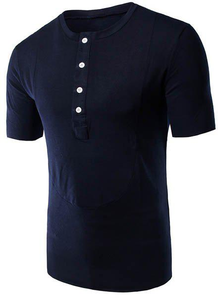 Round Neck Button Embellished Short Sleeve Men's T-Shirt - CADETBLUE XL