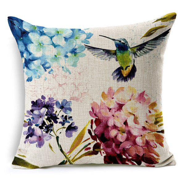 High Quality Flower Bird Pattern Square Shape Pillow Case?Without Pillow Inner?Home<br><br><br>Color: COLORMIX