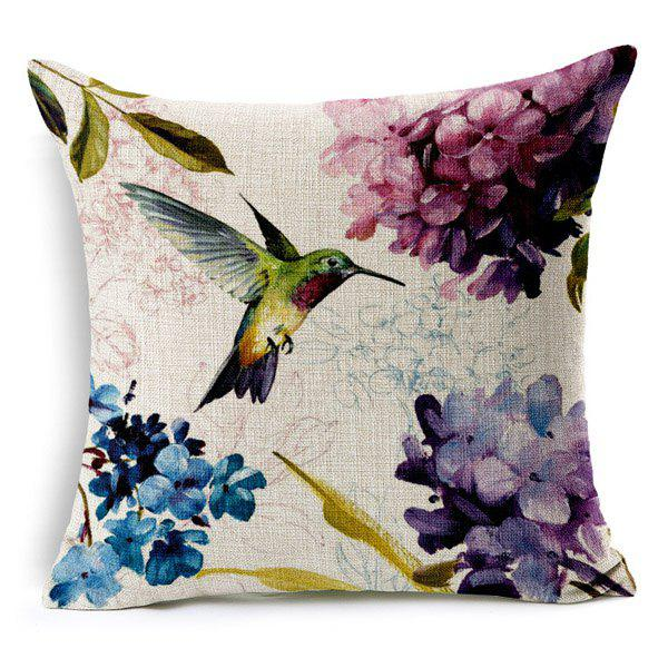 High Quality Flower Bird Printed Pattern Square Shape Pillow Case(Without Pillow Inner) - COLORMIX