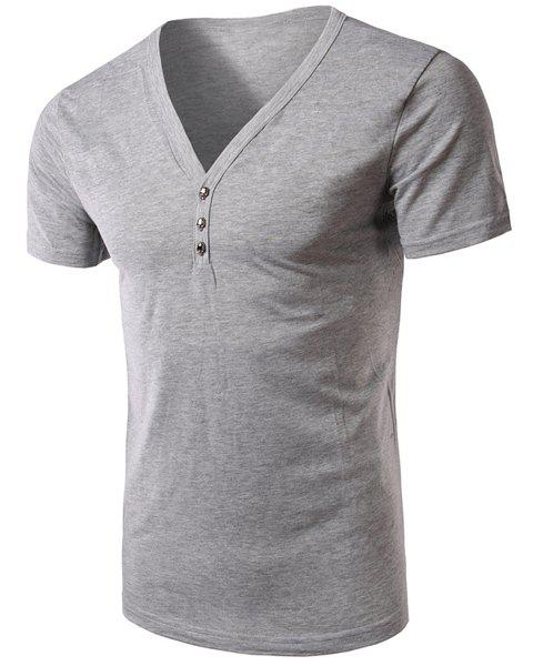 V-Neck Short Sleeves Solid Color T-Shirt For Men - LIGHT GRAY M