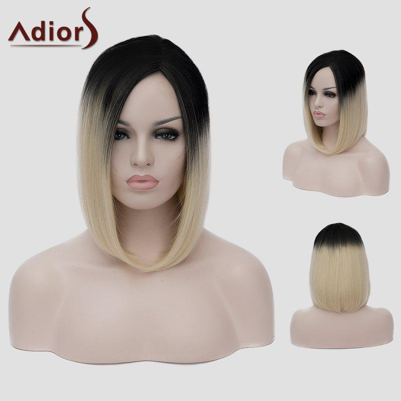 Lolita Black Gradient Light Blonde Vogue Short Straight Capless Women's Synthetic Cosplay Wig l email black blonde ombre gradient 60cm