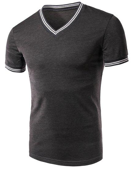 Men's Stripe Cuff Solid Color V-Neck Short Sleeves T-Shirt - GRAY L