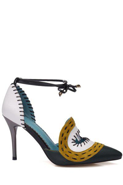 Stylish Stitching and Lace-Up Design Pumps For Women - GREEN 37
