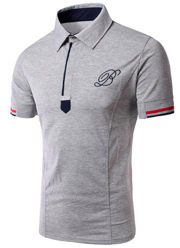 Solid Color Turn Down Collar Short Sleeves Embroidery Design T-Shirt For MenMen<br><br><br>Size: 3XL<br>Color: GRAY