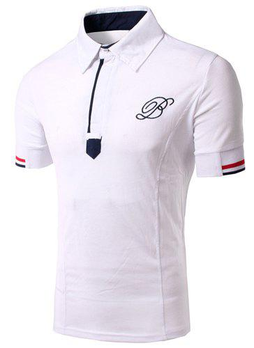 Solid Color Turn Down Collar Short Sleeves Embroidery Design T-Shirt For Men - WHITE L