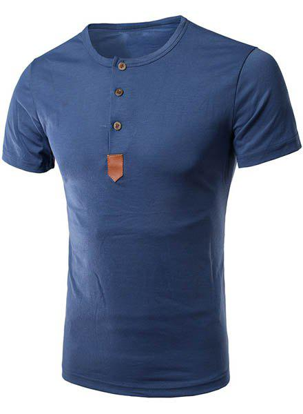 Simple Round Neck Single Breasted Design PU-Leather Spliced Short Sleeve Men's T-Shirt - BLUE L