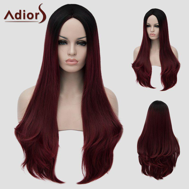 Lolita Black Ombre Wine Red Charming Long Middle Part Wavy Synthetic Women's Cosplay Wig