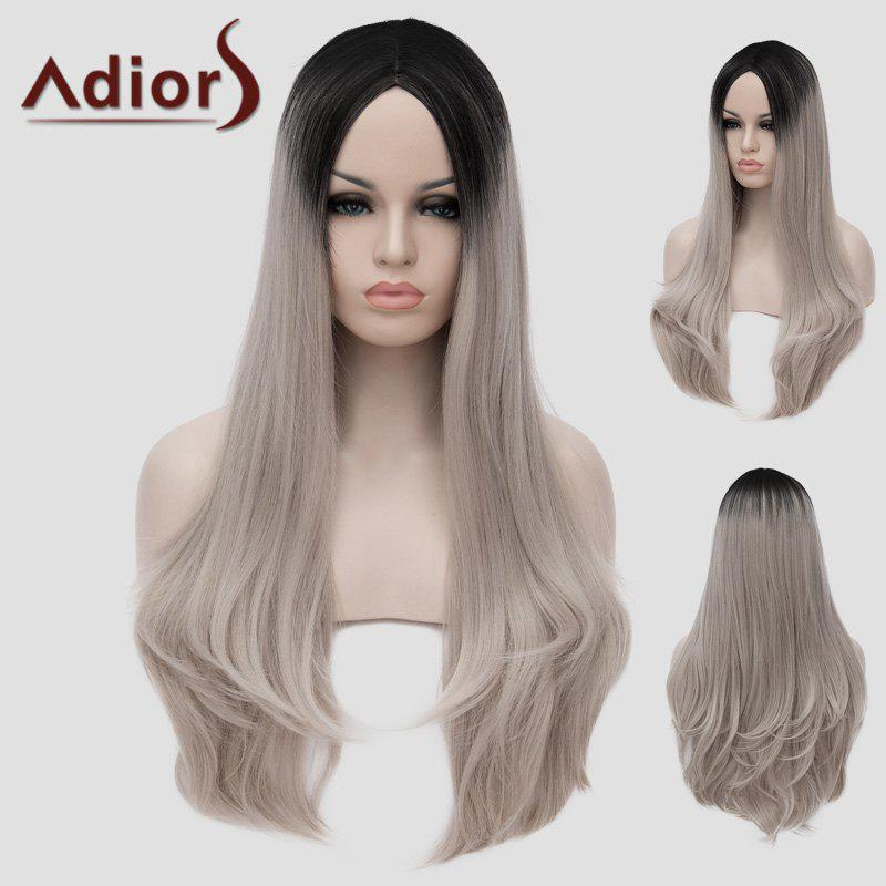 Charming Lolita Black Ombre Silvery Gray Fluffy Wavy Synthetic Long Cosplay Wig For Women hot sell new long wavy silvery white cosplay wig with ponytails split wig