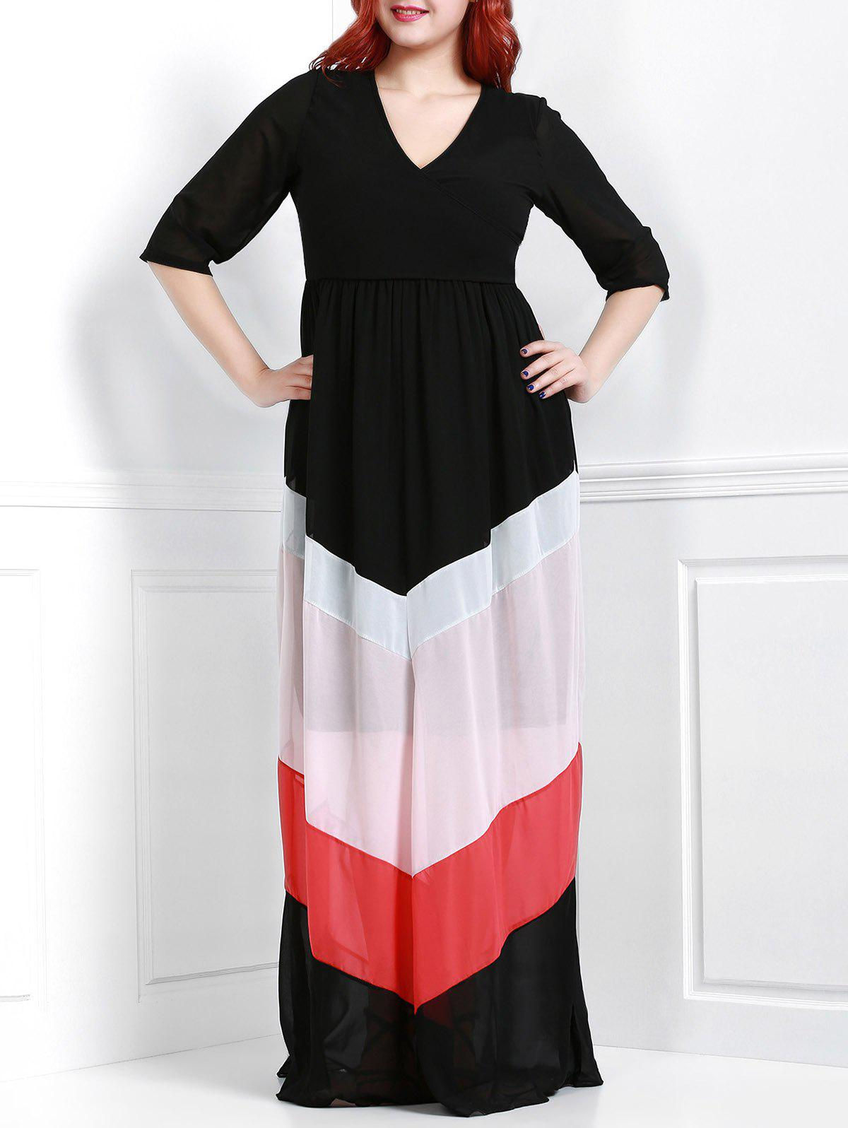 Charming V-Neck 3/4 Sleeve Zigzag Printed Loose Maxi Dress For Women - BLACK XL