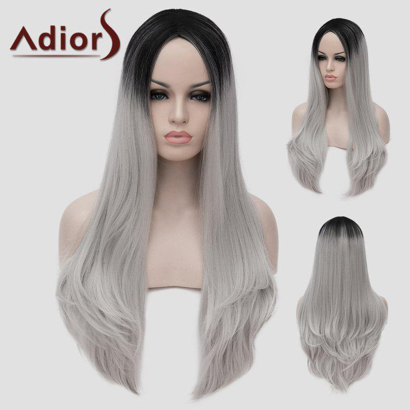 Lolita Black Ombre Silvery White Long Synthetic Trendy Shaggy Wavy Women's Cosplay Wig - OMBRE 2