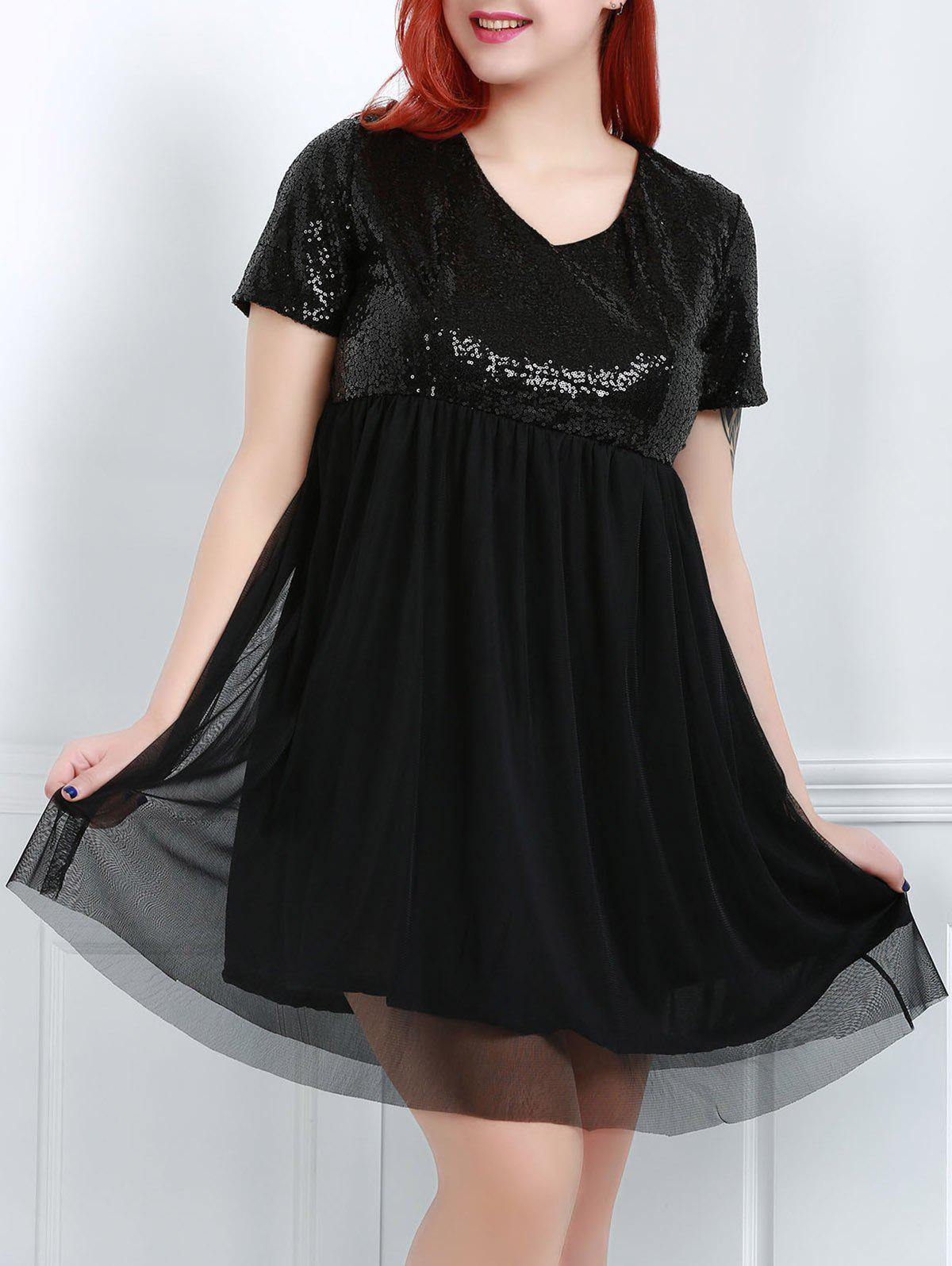 Stylish Women's V-Neck Short Sleeve Sequins Plus Size Dress - BLACK XL
