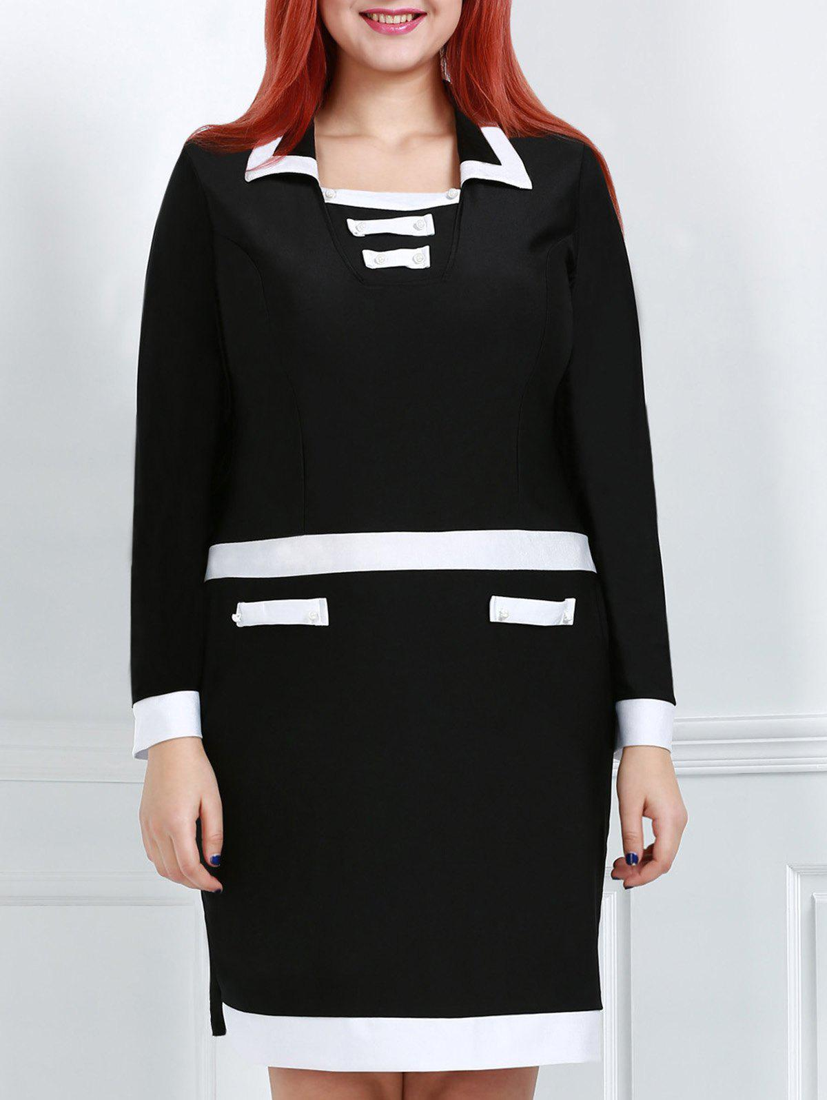 Stylish Turn-Down Collar Long Sleeve Plus Size Color Block Women's Dress - BLACK 4XL