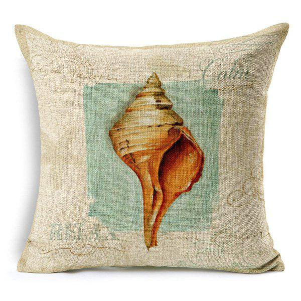 High Quality Conch Painting Pattern Square Shape Pillow Case(Without Pillow Inner)