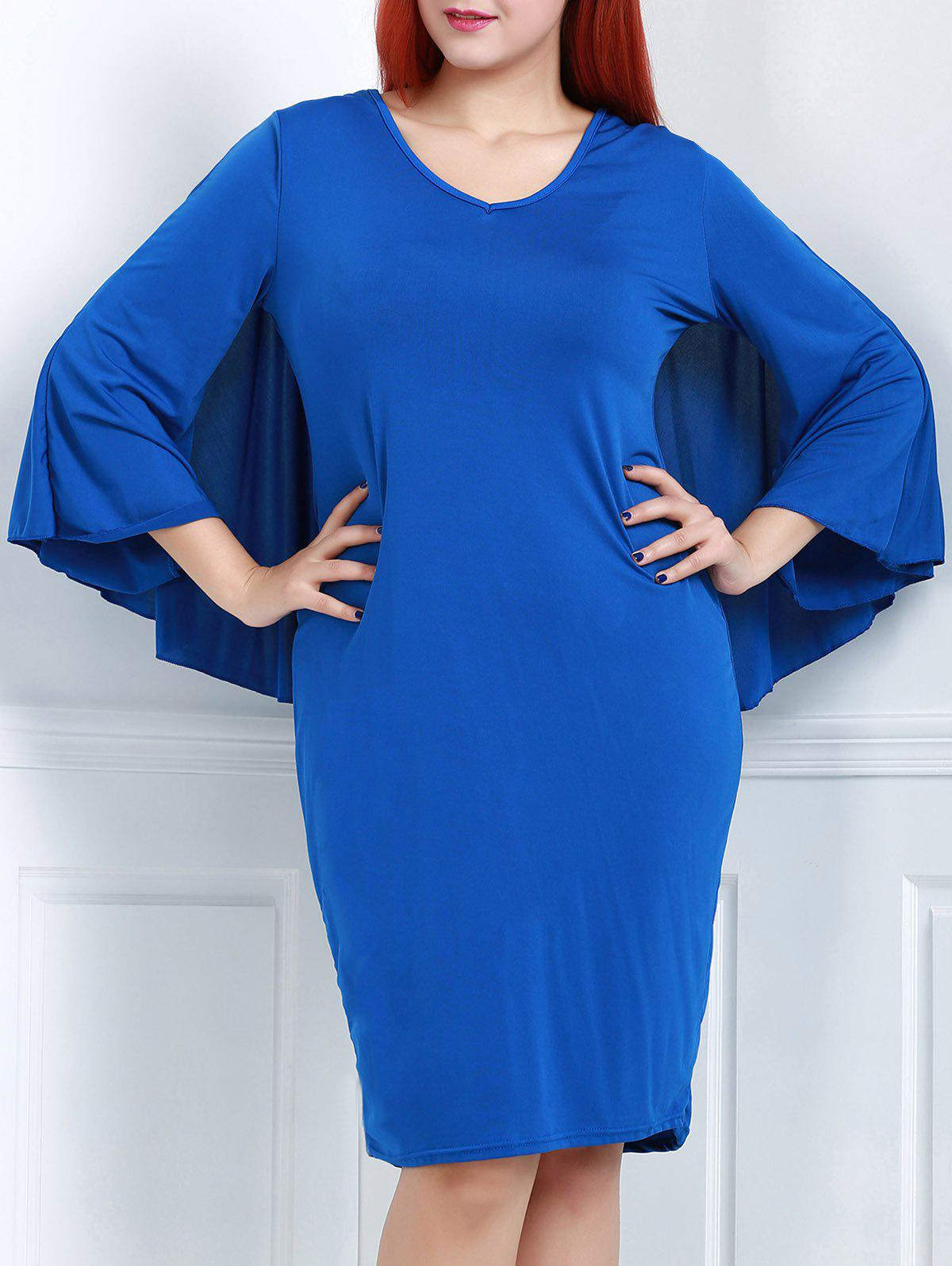 Trendy Solid Color V-Neck 3/4 Sleeve Bodycon Cape Dress For Women - BLUE 2XL