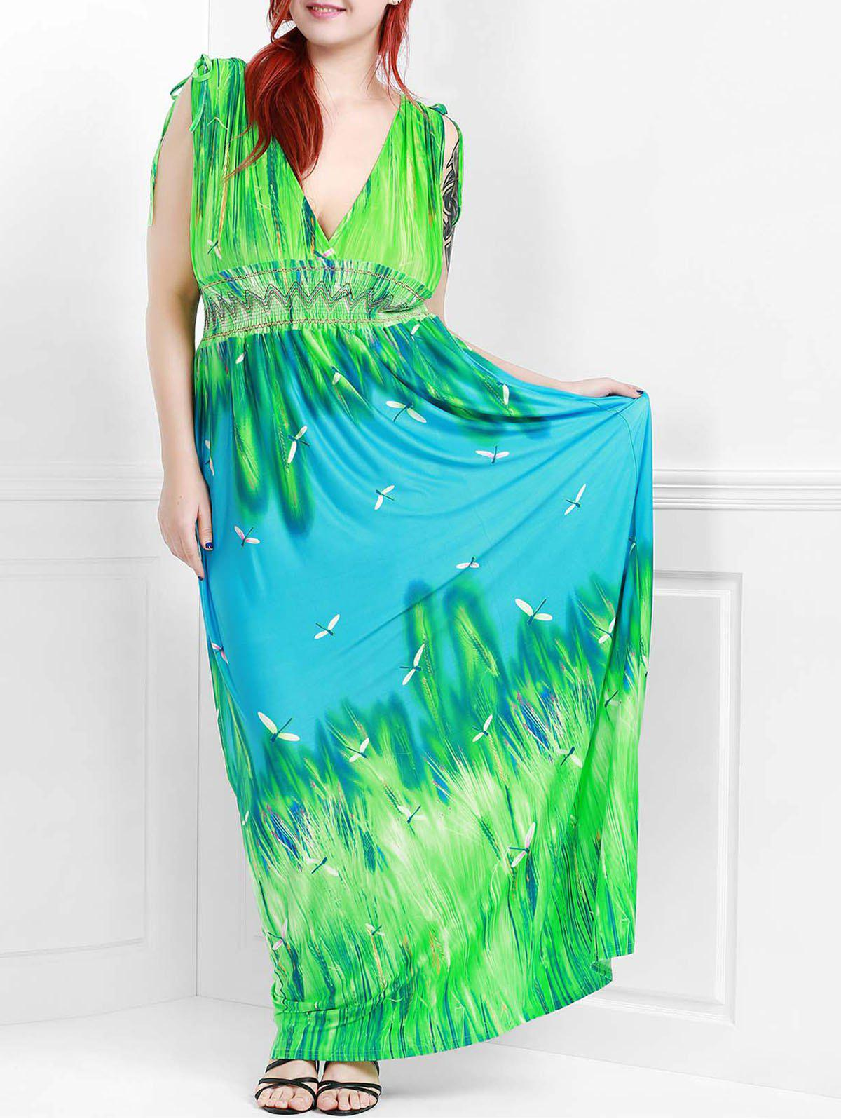 Sexy Dragonfly Print Plunging Neck Sleeveless Dress For Women - GREEN XL