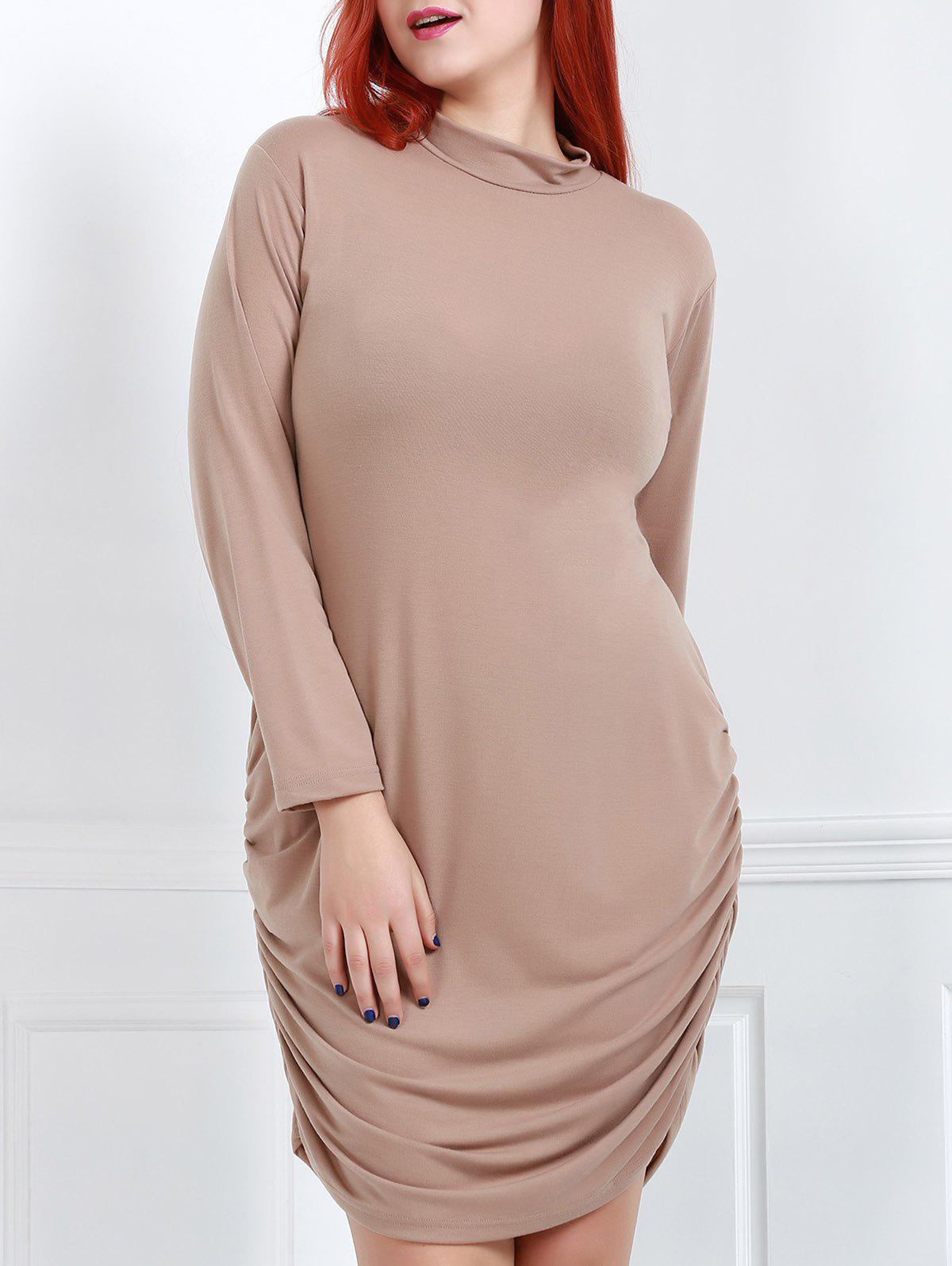 Sexy Turtle Neck Long Sleeve Plus Size Solid Color Women's Dress
