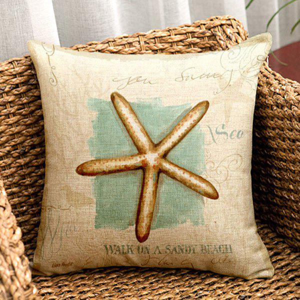 High Quality Starfish Painting Pattern Square Shape Pillow Case(Without Pillow Inner)