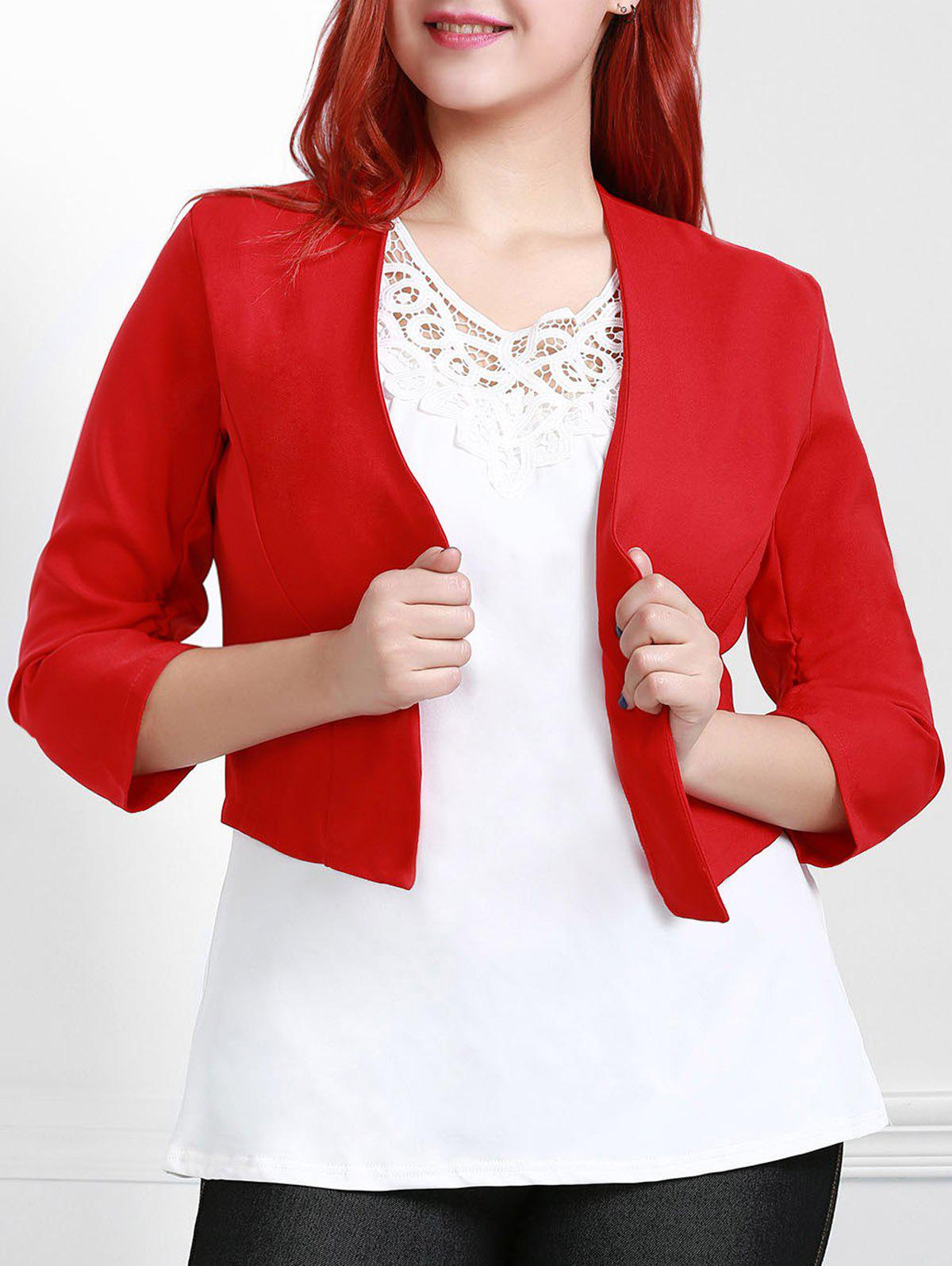 OL Style 3/4 Sleeve Shawl Collar Ruched Women's Red Blazer - RED 3XL
