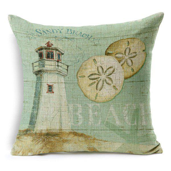 High Quality Beach Painting Pattern Square Shape Pillow Case(Without Pillow Inner) - COLORMIX