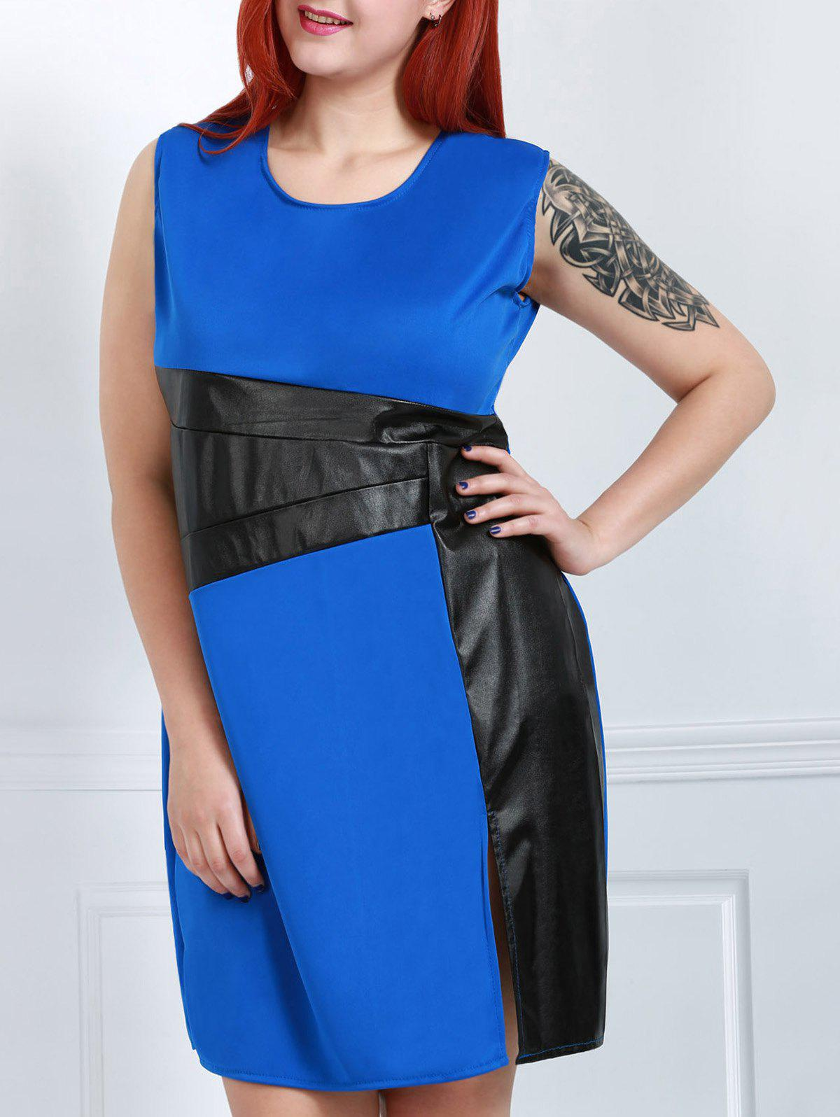 Stylish Scoop Neck Sleeveless Plus Size Color Block Women's Dress - BLUE 5XL